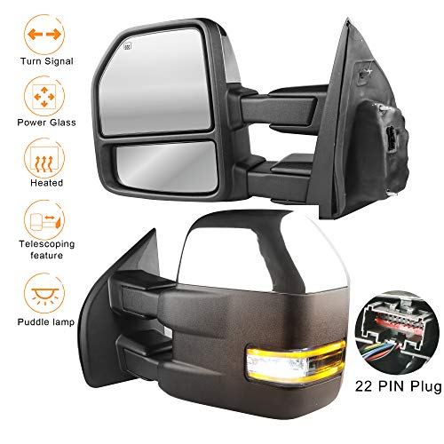 MOSTPLUS New Chrome Housing Power Heated Towing Mirrors for Ford F150 2015 2016 2017 w/Turn Signal Light, Auxiliary, Clearance & Puddle Lights-22 Pin Plug(Set of 2)