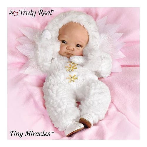 Tiny Miracle Snowflake Miniature Lifelike Baby Doll In a Fleecy Outfit by Ashton Drake