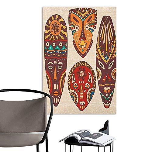 (Wall Mural Wallpaper Stickers Tiki Bar Mask Designs African Aborigine Artwork Patterns Cultural Ethnic Hawaiian Print Multicolor Mural Blackboard DIY White W24 x)