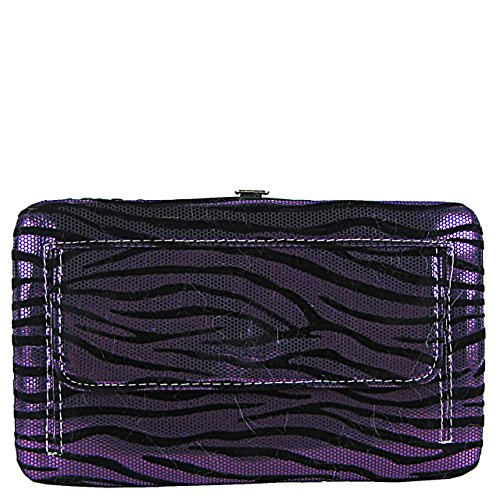 Purple Zebra Stripe Rhinestone Studded Wing and Feather Cross Clutch Wallet