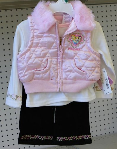 Disney Princess Infant Girl 3pc Set 12 Month. Pink White Back Vest, Shirt, Pant