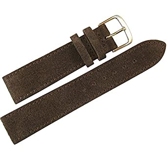 0f35b73a883 Fluco 18mm Brown Suede Leather Watch Strap  Amazon.co.uk  Watches