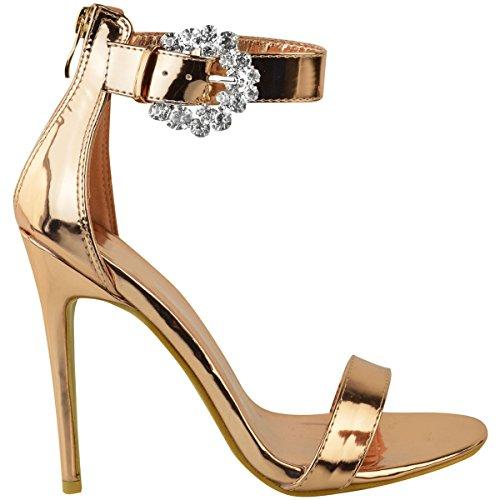 Mode Dorstige Dames Stiletto Hakken Diamante Gesp Nauwelijks Daar Partij Avond Grootte Rose Goud Metallic