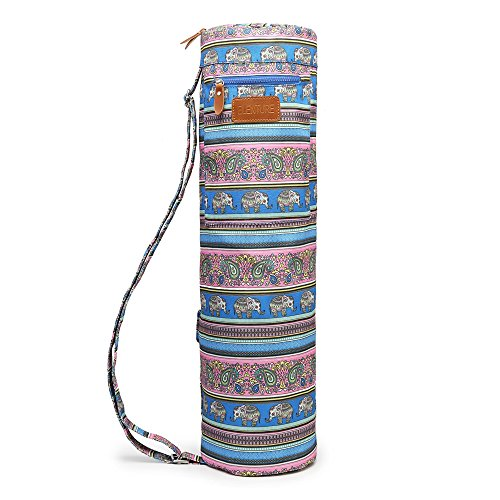 ELENTURE Full-Zip Exercise Yoga Mat Carry Bag with Multi-Functional Storage Pockets (Paisley Elephant)