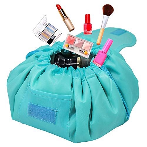 Adigow Lazy Drawstring Cosmetic Bag Magic Makeup Organizer Pouch Waterproof Travel Bags For Womens,Light Blue