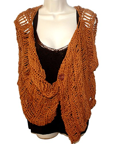 Gold Cotton Vest, Womens Clothing, Plus Size Clothes, Cream Tee, Crochet ()