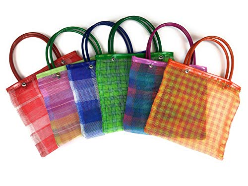 Mini Mexican Tote Favor Bags (Mexican Candy Bags - Mexican Mercado Bags - Mexican Mesh Bags - Bolsas Para Fiestas) - 8 x 7 (6 count)
