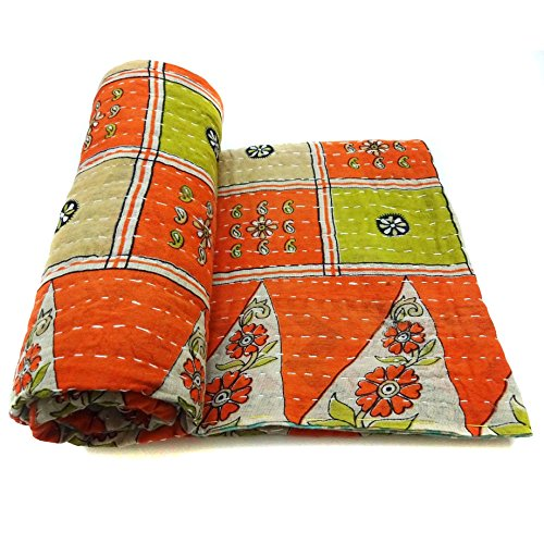 Vintage Kantha Quilt Decorative Indian Cotton Bedspread Authentic Bedding Throw