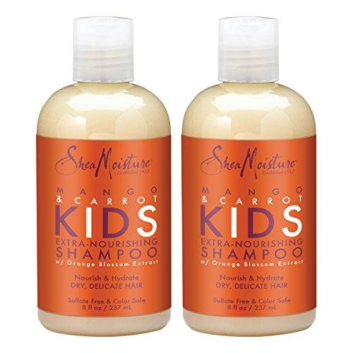 SheaMoisture Mango & Carrot KIDS, Extra-Nourishing Shampoo, Orange Blossom Extract, Dry, Delicate Hair, 8 fl oz, Pack of 2 (Mango Coconut Moisture Shampoo Rich)