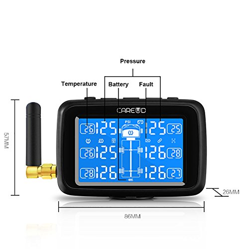 U901T Tire Pressure Monitoring System for Trucks with 6pcs External Sensors Real Time Monitoring Pressure and Temperature Vehicle Battery Testing Large LCD Display by Careud (Image #4)