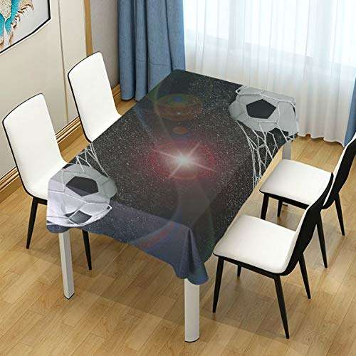 CHASOEA Decor Tablecloth Teen Room Soccer Balls Goal Match Success Concept in The Outer Space Winner Glory Theme 60
