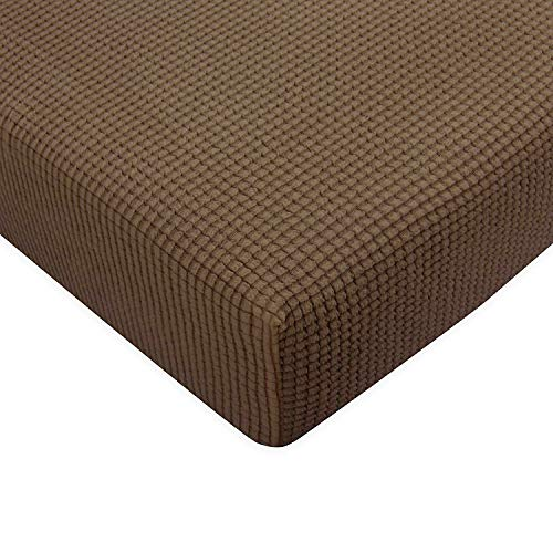 Subrtex Spandex Elastic Couch Stretch Durable Slipcover Furniture Protector Slip Cover for Settee Sofa Seat (Chair Cushion, Coffee), (Couch Pillow Slipcovers)