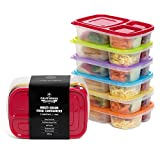 California Home Goods CHG-KD-3C-6P 3-Compartment Reusable Food Storage Containers for Kids and Adults with Bento Dividers, Set of 6, Multi-Color