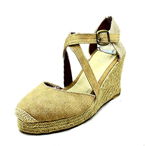 SendIt4Me Ladies Washed Denim/Canvas Wicker Wedge Sandals/Shoes Beige 4ei4eOQb