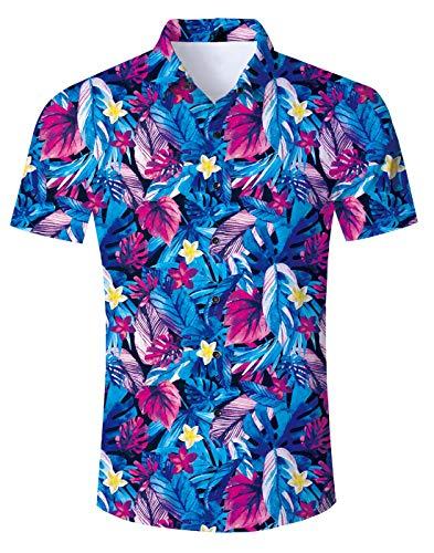 8c9e13b0ac39 Fanient Men's 3D Floral Print Beach Theme Hawaiian Island Shirt Tropical  Shirts Vintage Hawaiian Clothes Button