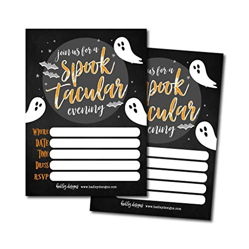 25 Ghost Halloween Party Invitation Cards for Kids Adults, Vintage Birthday or Wedding Bridal Baby Shower Paper Invites, Scary White Costume Dress up, Horror DIY Spooktacular House Bash Idea Printable]()