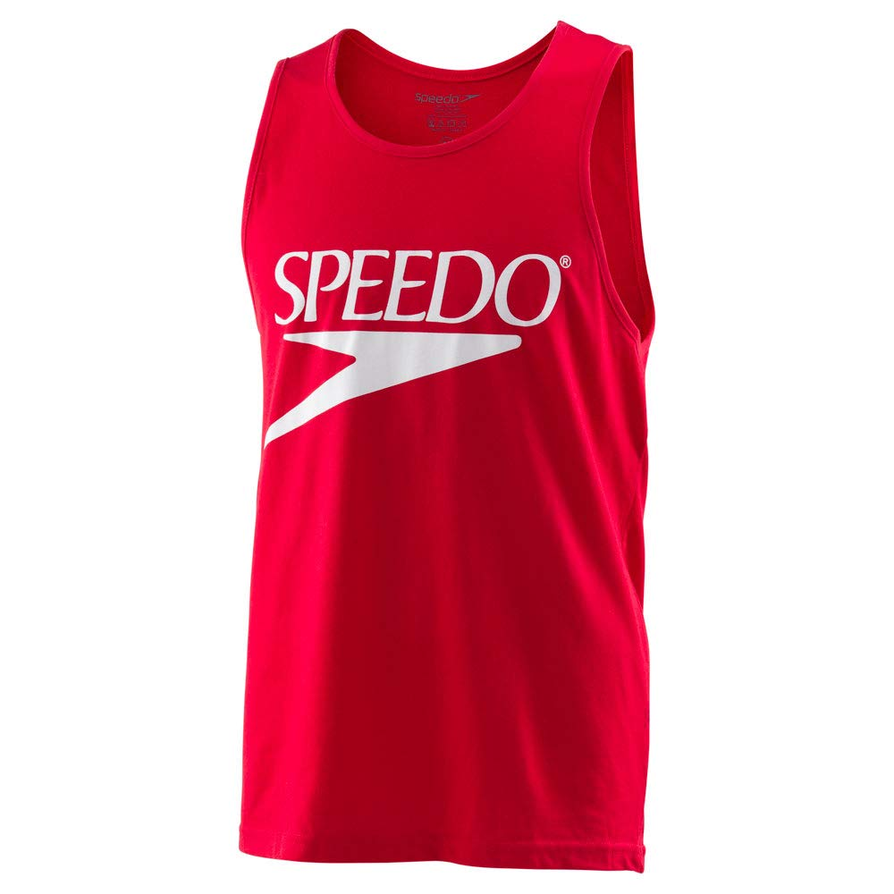 Speedo Vintage Collection Logo Tank Top, SPEEDO RED, Medium by Speedo