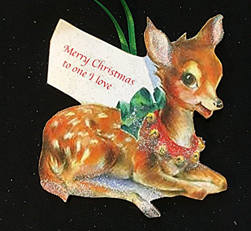 Sweet Deer Ornament Handcrafted Wooden Christmas Mid-Century Modern, Boyfriend Husband Gift, Holiday Decoration, 1950s Christmas Cards -