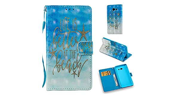 Firefish Galaxy J5 2017 Case,Pu Leather Card Holder Full Protective Lightweight Anti Sliding Case with Magnetic Wrist Strap Kickstand Flip Folio Case ...