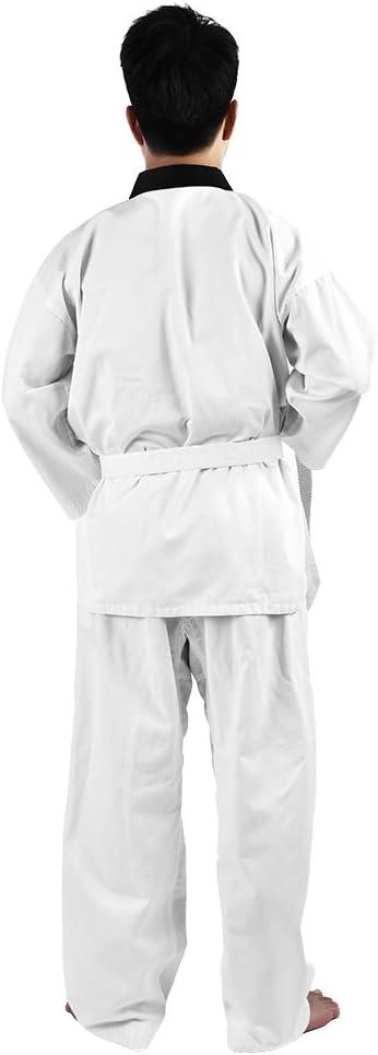 Alomejor Taekwondo Uniform Full Cotton Long Sleeves with White Belt Karate Costume for Adults /& Children