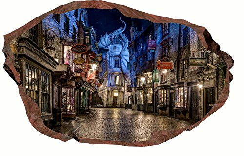 Hogwarts Harry Potter 3D Harry Potter Diagon Alley Night 3D Rock Breaking through wall View Decal WALL STICKER Art Mural Kids. 18