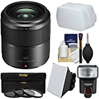 Panasonic Lumix G 30mm f/2.8 MEGA OIS Macro Lens with Flash + Soft Box + Diffuser + 3 Filters Kit for G6, G7, GF7, GH4, GM1, GM5, GX7, GX8 Camera