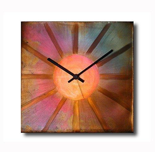 Large Copper Wall Clock 12-inch - Square Decorative Art Metal Original - Silent Non Ticking Quartz for Home