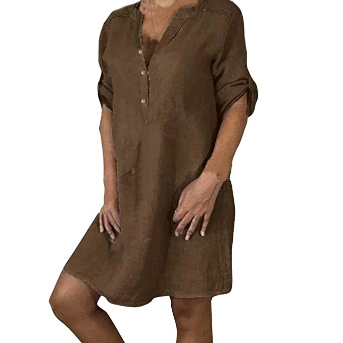 Amazon.com: Clearance! Womens Cotton Linen Dresses Plus Size ...