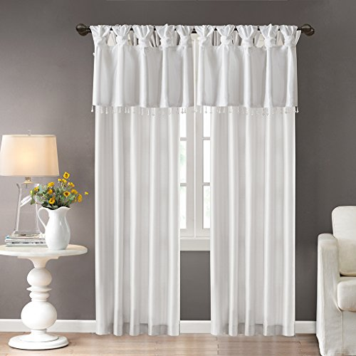 Madison Park Emilia Room-Darkening Curtain DIY Twist Tab Window Panel Black-Out Drapes for Bedroom and Dorm, 50x84, White