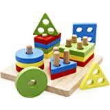 rolimate Wooden Educational Shape Color Recognition Geometric Board Block Stack Sort Chunky Puzzle Toys, Birthday Gift Toy for Age 3 4 5 Years Old and Up Kid Children Baby Toddler Boy Girl (ZY-200)
