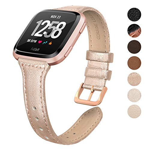SWEES Leather Bands Compatible Fitbit Versa, Genuine Leather Slim Thin Soft Elegant Dressy Wristband Watch Band Women Small, Rose Gold, Ivory, Champagne, Black, Brown, Tan