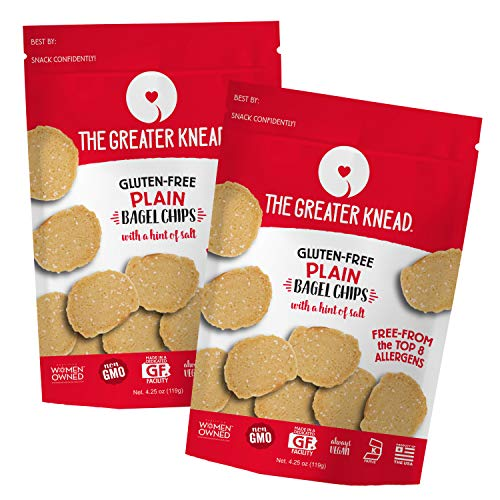 Greater Knead Gluten Free Bagel Chips - Plain, Vegan, non-GMO, Free of Wheat,...