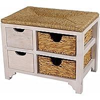 Heather Ann Creations Vale Series Multi Purpose 2 Drawer Wood Entryway Storage Bench with 2 Hyacinth Baskets, Whitewash