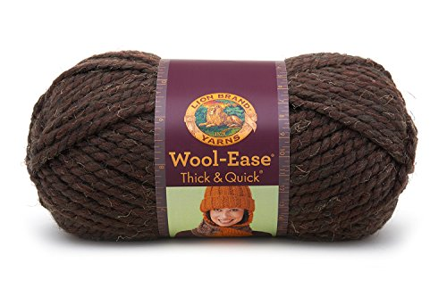Lion  640-404 Wool-Ease Thick & Quick Yarn , 97 Meters, Wood - Wood Barley Twist
