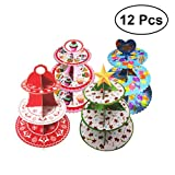 12pcs Cartoon Three-Tier Cake Stand Round Thicken Paper Children Birthday Party Decoration Snack Stand Tray Collapsible Cupcakes Supply