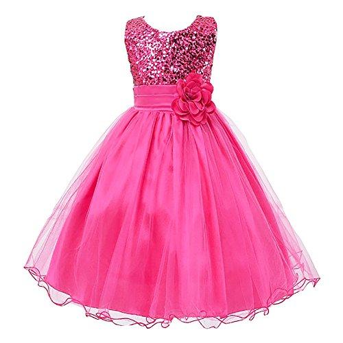 LPATTERN Summer Kids Baby Girls Tutu Tulle Flower Sequin Princess Dresses Bowknot Sleeveless Party Wedding Dress Rose Red 8-9 Years