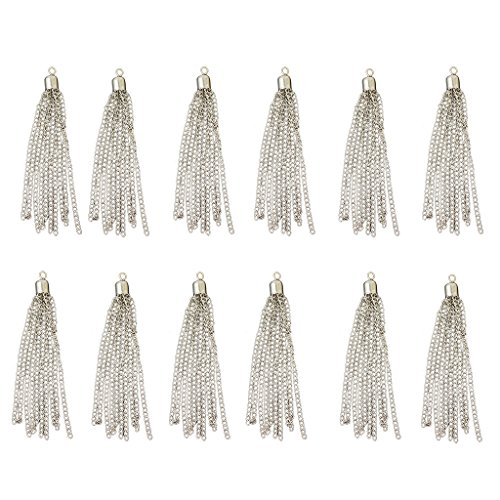 Jili Online 12pcs Gold Silver Plated Long Tassel Charm Pendant For Jewelry Making Findings - Silver, 95mm