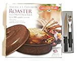 Mix brands Granite Ware Rack and Lid Turkey Roasting Pan Bundle with Rada Cutlery Carving Knife and Fork