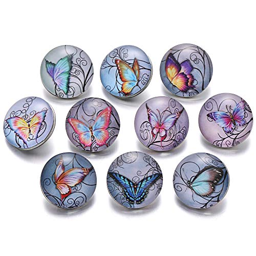 Lovglisten 12pcs 20mm Butterfly Vintage Style Mixed Glass Printed Snap Button Chunk Jewelry Charms (Butterfly)
