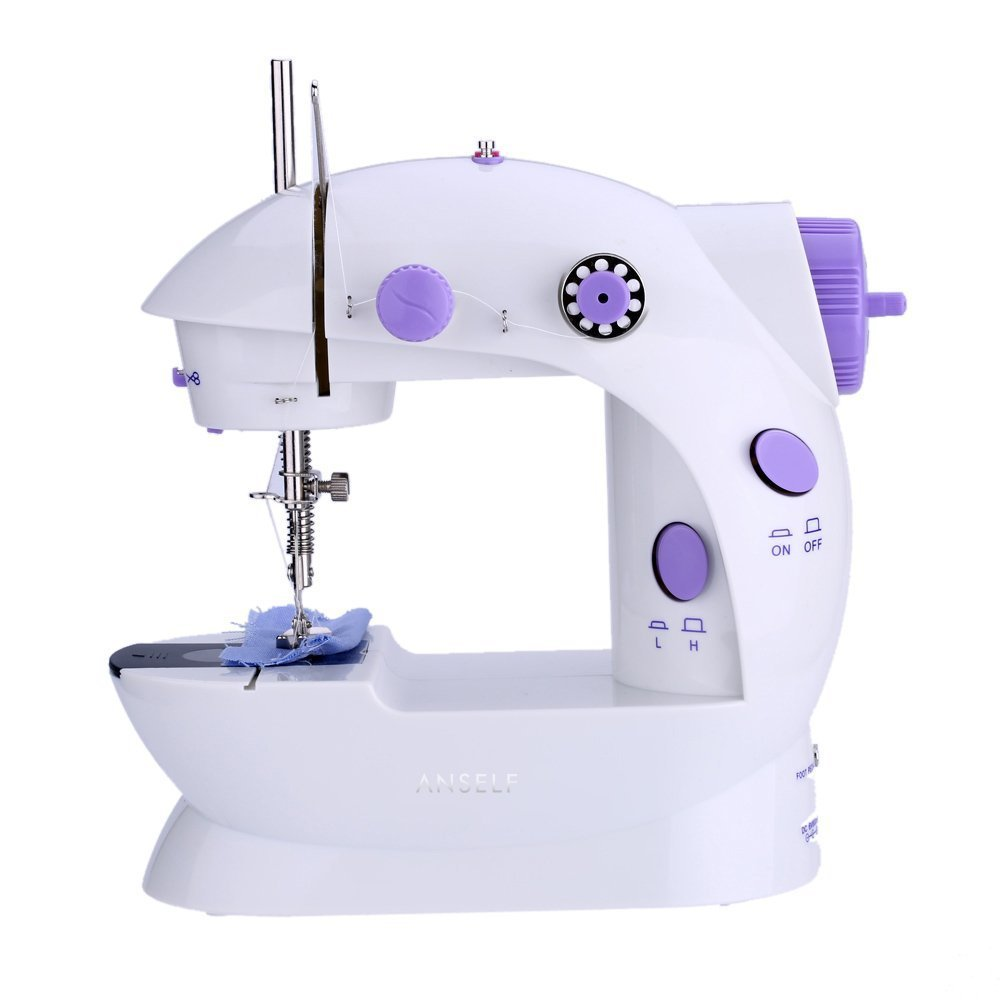 Anself Mini Electric Household Sewing Machine 2 Speed Adjustment with Light Foot Pedal AC100-240V TRTAZ11A