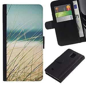 Billetera de Cuero Caso Titular de la tarjeta Carcasa Funda para Samsung Galaxy Note 4 SM-N910 / Grass Beach Sea Sand Summer View / STRONG