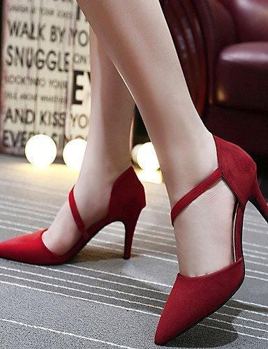GGX/ Damen-High Heels-Kleid-Wildleder-Stöckelabsatz-Absätze / Spitzschuh-Schwarz / Rot red-us6 / eu36 / uk4 / cn36