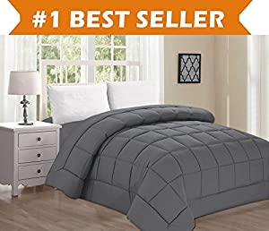 Best Selling Luxury Comforter on Amazon! Elegant Comfort Ultra Plush Down Alternative Double-Filled Comforter %100 HypoAllergenic, Full/Queen , Gray