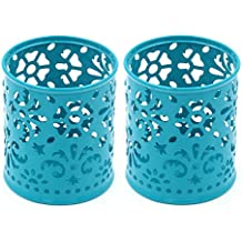 EasyPAG 2 Pcs 3-1/4 inch Dia x 3-3/4 inch High Round Desk Pencil Pen Holder , Dark Teal