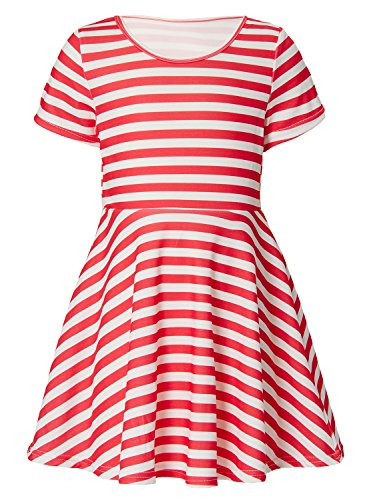 RAISEVERN Girls Short Sleeve Dress 3D Print Cute Red and White Striped Pattern Pink Summer Dress Casual Swing Theme Birthday Party Sundress Toddler Kids Twirly Skirt