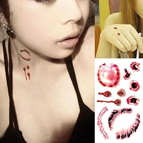 Teanfa 10Pcs Halloween Zombie Scars Tattoos With Fake