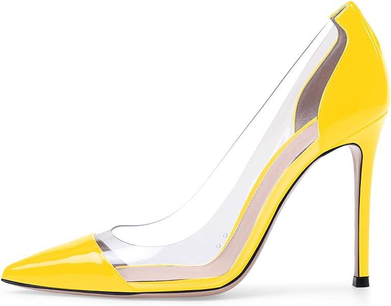 cff0e458f9 Sammitop Women's 100mm Pointed Toe Transparent High Heels Pumps ...