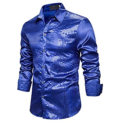 ASOBIMONO Mens Dress Shirt Silver Sequins Long Sleeve Button Down 70s Disco Shirt Party Costume