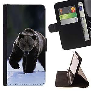 Momo Phone Case / Flip Funda de Cuero Case Cover - El oso grizzly invierno - Samsung Galaxy E5 E500