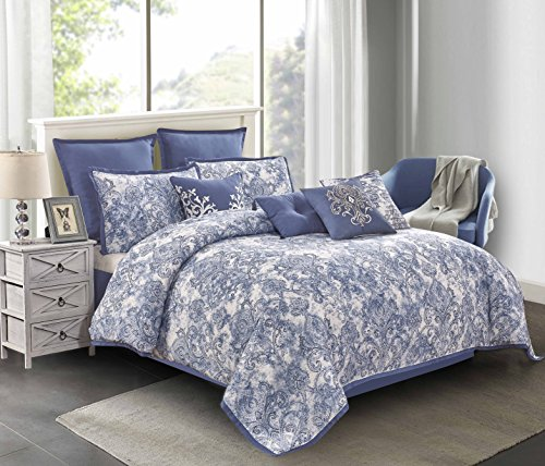 """Wonder-Home 10-pc. Luxury Watercolor Comforter Set, Oversized Printed Microfiber Blue Bed Comforter Overfilled with Plush Polyester, Super Soft, Medium Weight, Queen, 92""""x96"""""""